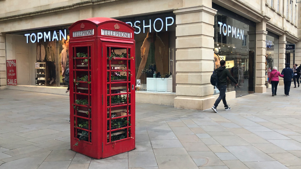 Red telephone box on high street turned into a decorative planter