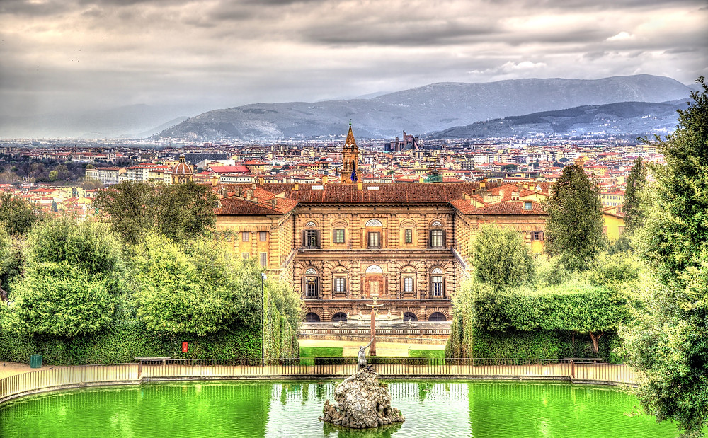 the beautiful grounds of the Pitti Palace in Florence