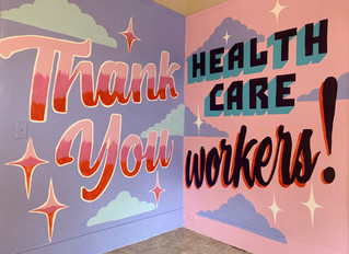 NICO CREATES MURAL AT HOME TO THANK HEALTH WORKERS