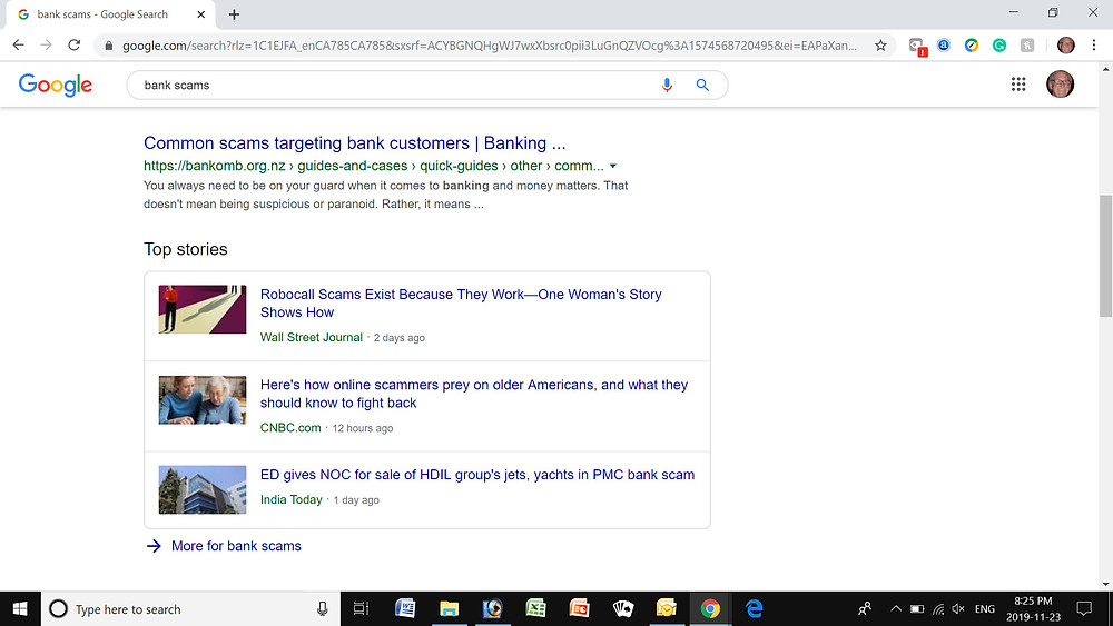 A screenshot of a Google scam search.