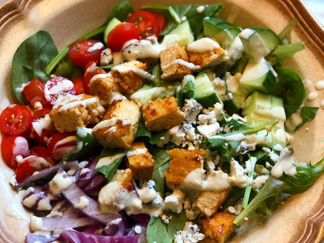 Blue Cheese Salad with Buffalo Tempeh