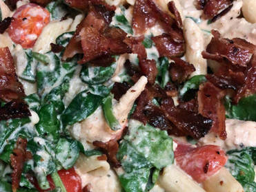 Chicken Bacon Pasta in a Creamy Spinach and Tomato Sauce