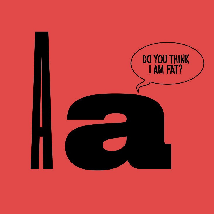 """Humorous illustration depicting a thick letter saying to a thin letter: """"Do you think I am fat?"""""""