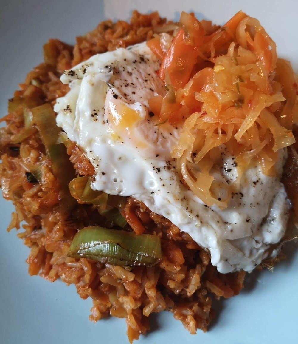 Katz Kimchi Spicy Fried Rice with fried egg