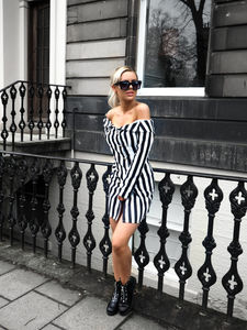 7f68056a1de1 Beetlejuice vibesssss, today im dressing up this off the shoulder dress  from KatchMe with some biker studded bargain boots.