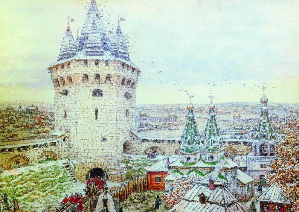 Семиверхая угловая башня Белого города в XVII веке (1924 год)