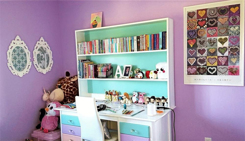 Purple and aqua colour scheme bedroom