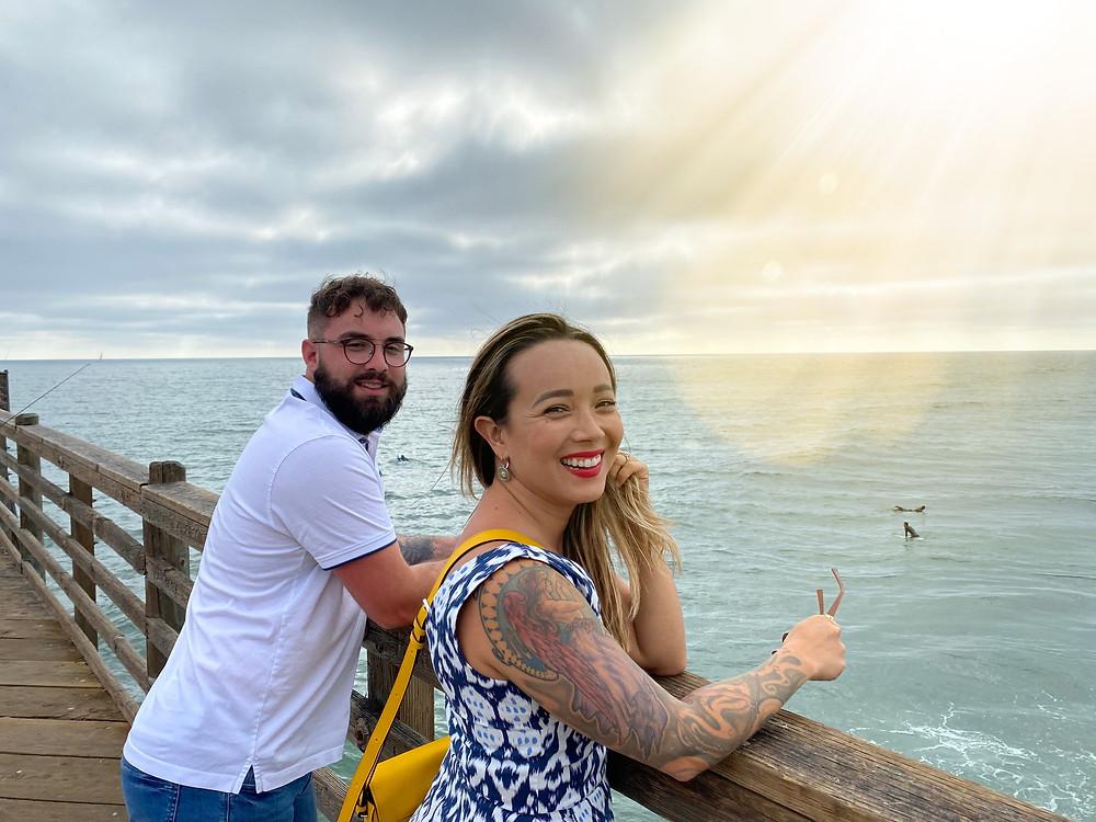 Leslie Juvin-Acker and Daniel Beavers on Oceanside Pier, Oceanside California