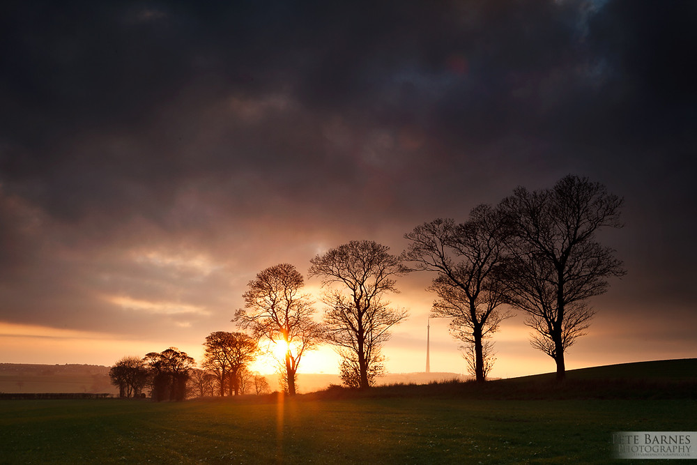 Landscape Photography of Emley Moor Mast at Sunset