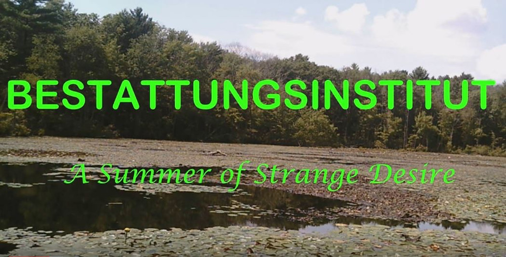 This image shows a vast landscape; a wide lake covered with many lily pads, a darkened green forest of tall trees further in the distance along the edge of the river. The colouring of the image is overall quite dull but the title of the film covers the area of the image in block, vibrant green text.