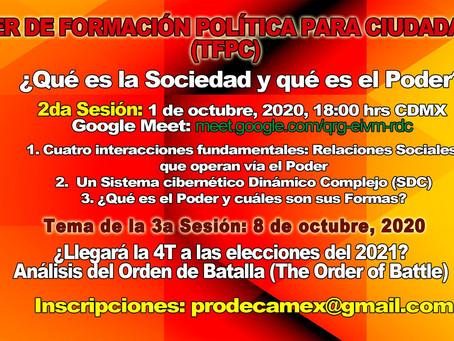 SEGUNDA SESIÓN TALLER DE FORMACIÓN POLÍTICA PARA CIUDADANOS