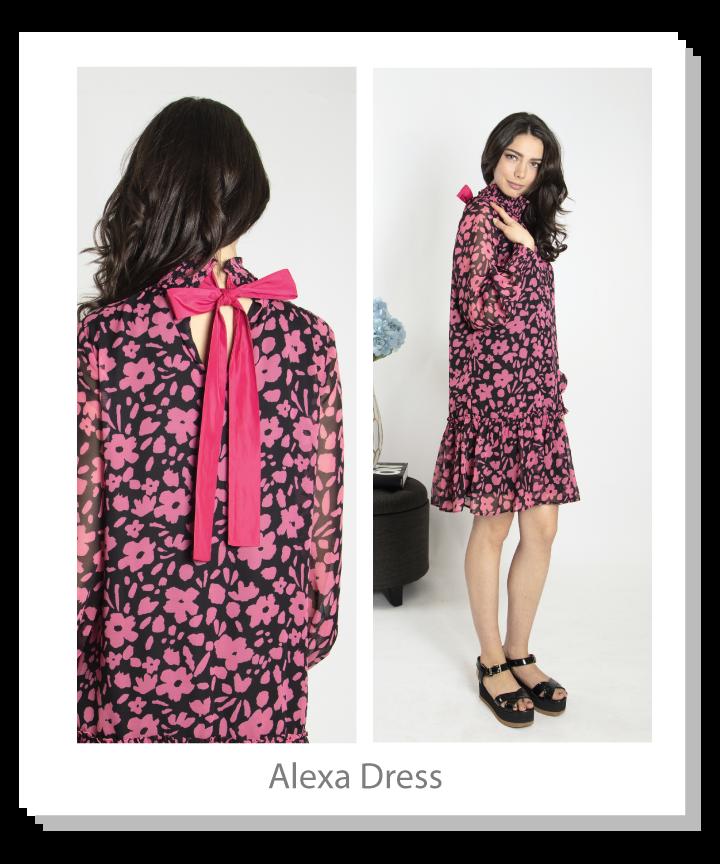 Floral printed chiffon dress