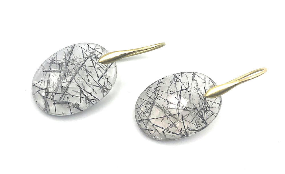 Oval Tourmalinated Quartz Earring | 18k Yellow Gold