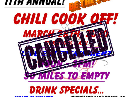 11th ANNUAL CHILI COOK OFF-CANCELLED DUE TO CORONAVIRUS
