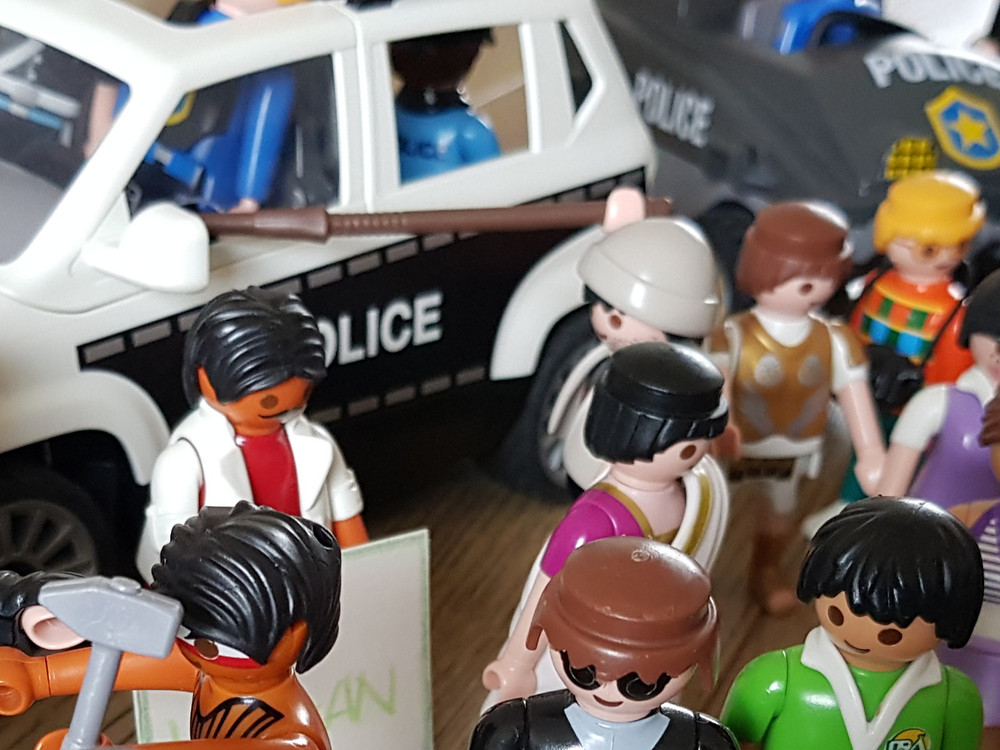 riot, police, playmobil, protest