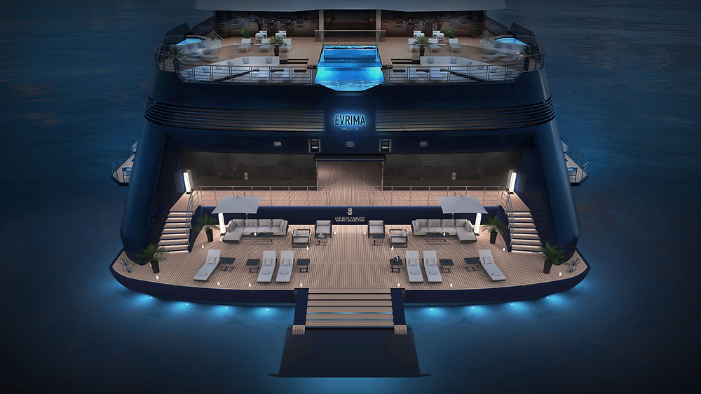 The aft deck area of Ritz-Carlton Yacht Collection's Evrima seen at night