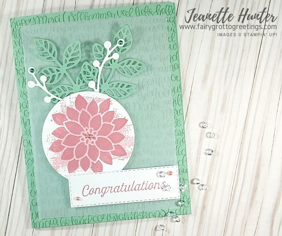 Full image of card using Flourishing Phrases stamp set from Stampin' Up!