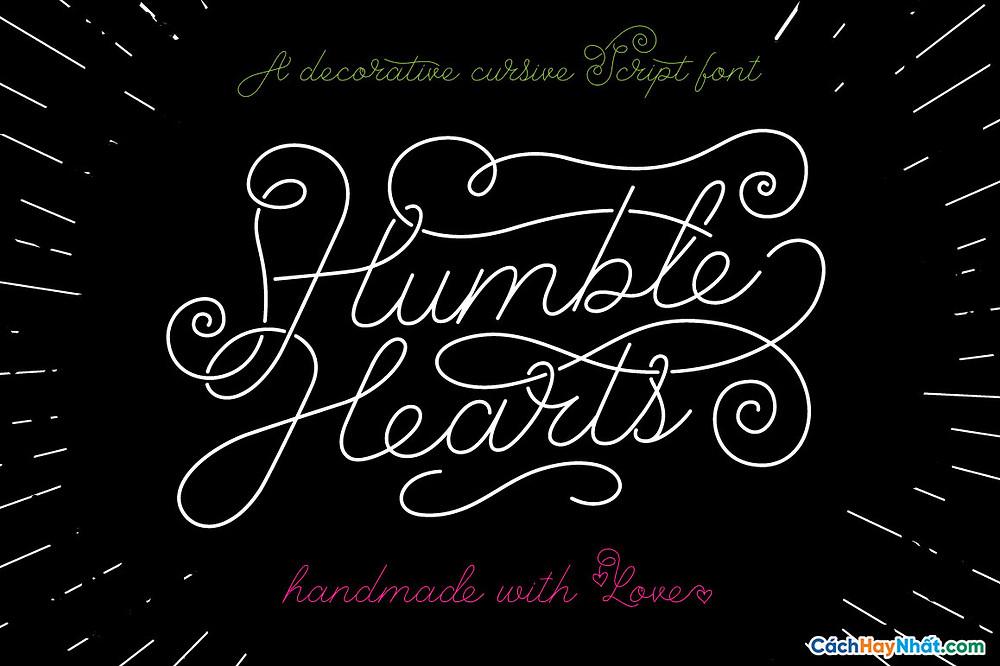 Font Chữ iCiel Humble Hearts ở cuối bài