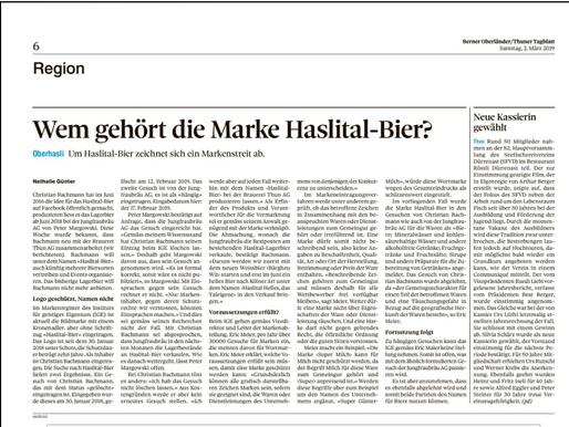 Wem gehört die Marke Haslital-Bier?