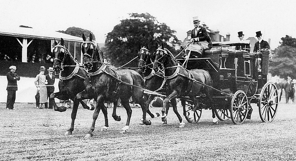 Bertram Mills driving a four-in-hand coach at the Richmond Horse Show (1931)