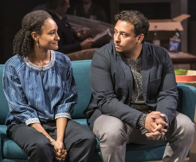 Natalie Simpson (Thea) & Irfan Shamji (Elijah) in HEDDA TESMAN, a CFT, Headlong, Lowry co-production Photo Johan Persson