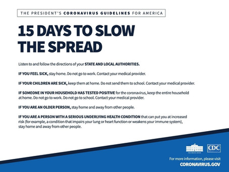 Guidelines: 15 Days to Slow the Spread of Coronavirus (COVID-19)