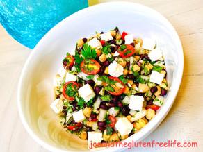 Gluten Free Balela (Middle Eastern Chickpeas & Black Bean Salad)