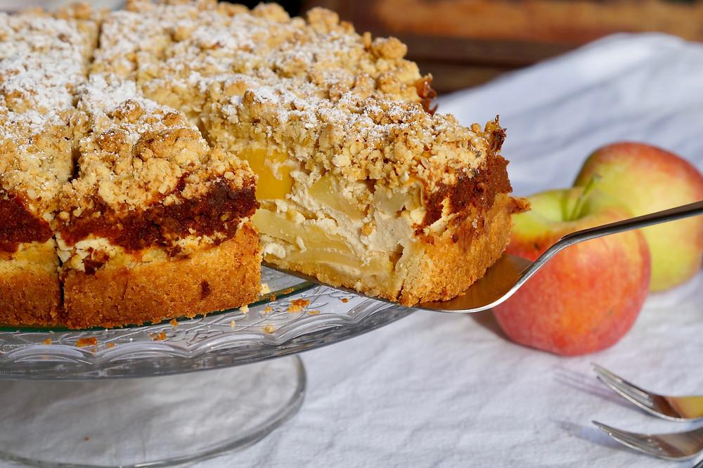 Apfel-Streusel-Käsekuchen mit Ingwer