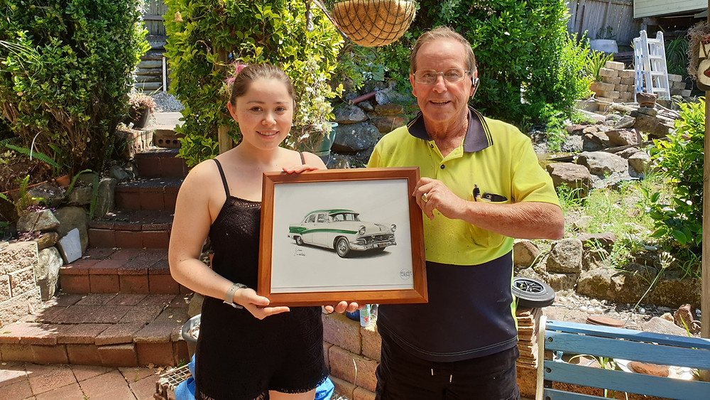 Father's Day gift, art, automotive drawing, auto art, Street Ignition Queens, ladies automotive community, Drawings by Orhan Ozvatan