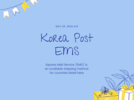 Korea Post EMS available countries (as of Nov 29, 2020)