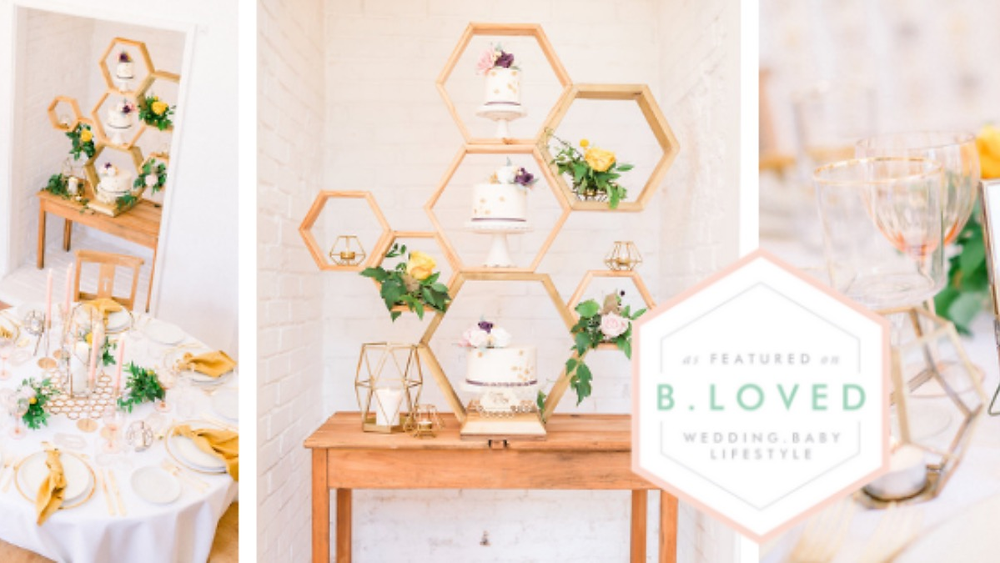 Creative and modern wedding shoot inspired by honey bees. Plenty of ideas for a contemporary wedding with geometric styling and artisan products.