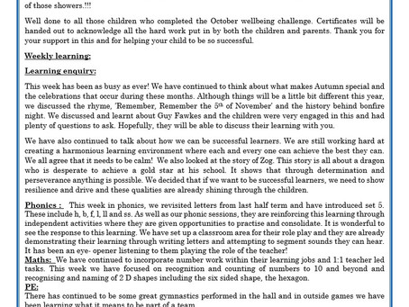 Reception Weekly Letter 06/11/20