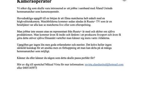 Fotbollen närmar sig. Åland United behöver dig!