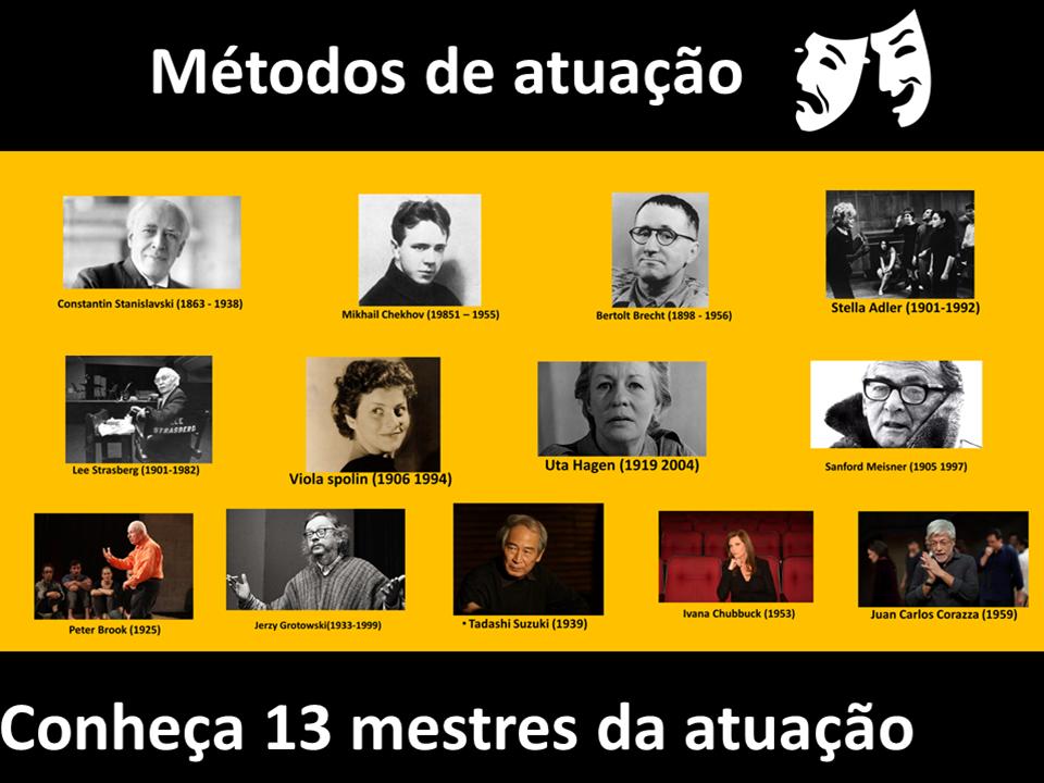 Os principais mestres da atuação, professores de atuação, metodos de atuação modernos e contemporânes.