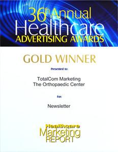 TotalCom wins gold for The Orthopaedic Center newsletter