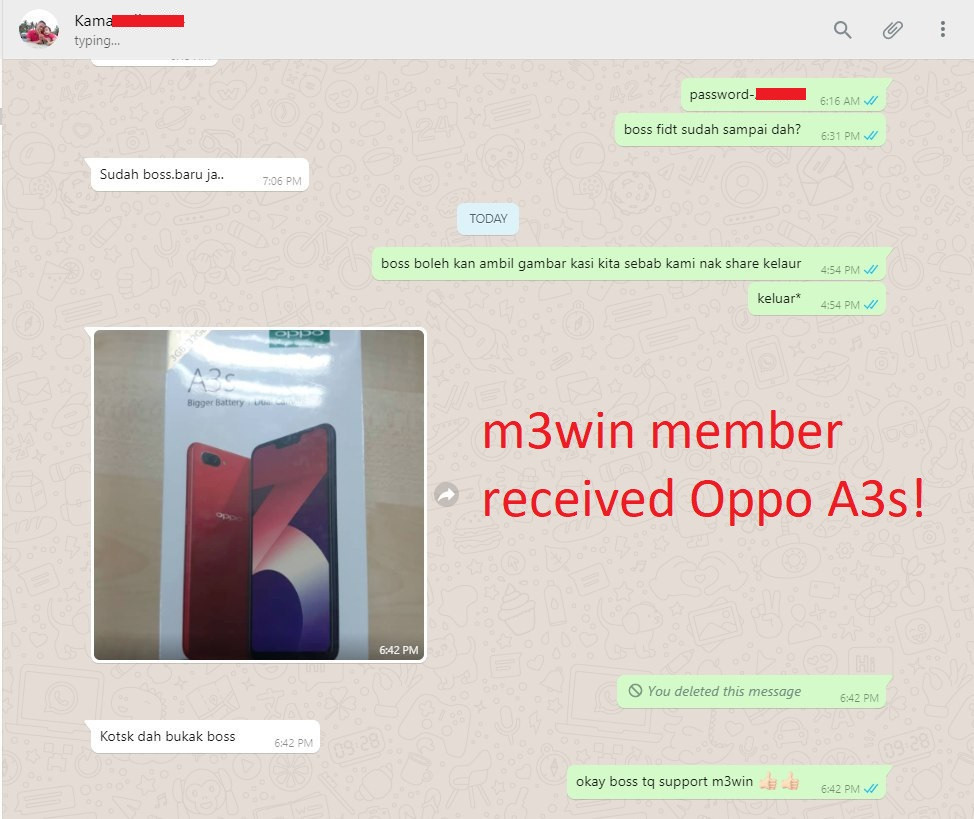 m3win Oppo A3s lucky draw