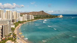Hawaii's Waikiki Beach in Honolulu, embark the Norwegian Pride of America with us in 2020