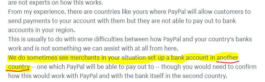 """""""... гледаме дека трговците отвораат сметка во друга земја - земја во која можете да земете пари ..."""" одговор од администраторот"""