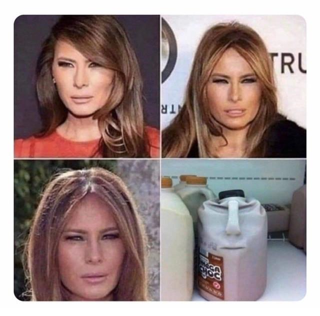 Melania looks like smushed milk carton