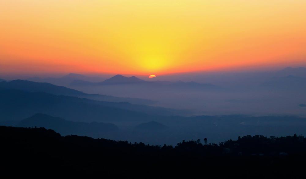 Sunrise over the Annapurna Massif, from Pokhara (Nepal)