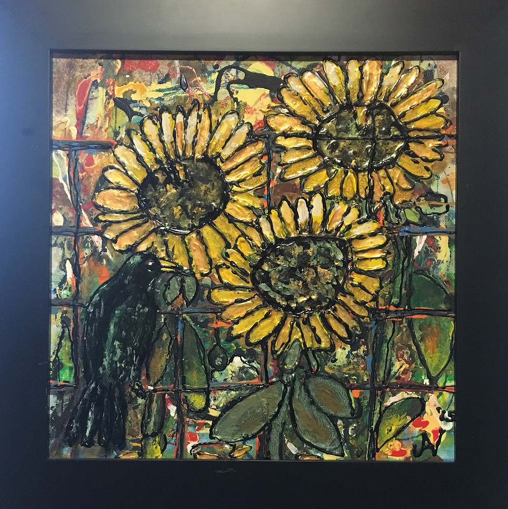 Painting of three sunflowers on stained glass by Jan Dittmar