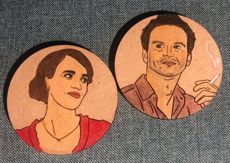 These custome magnets and coasters are good white elephant gifts.