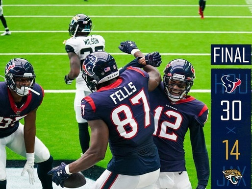 Texans dance their way to their first victory of the year after defeating the Jags.