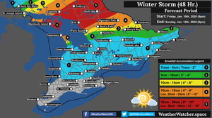 Snowfall Forecast, for Southern Ontario. Issued January 10th, 2020.