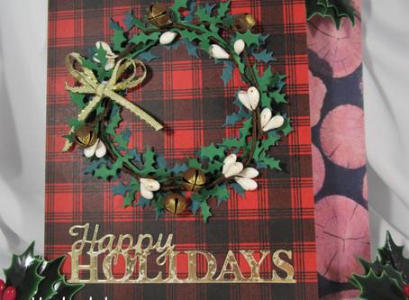 FOUR CHRISTMAS WREATH CARDS!
