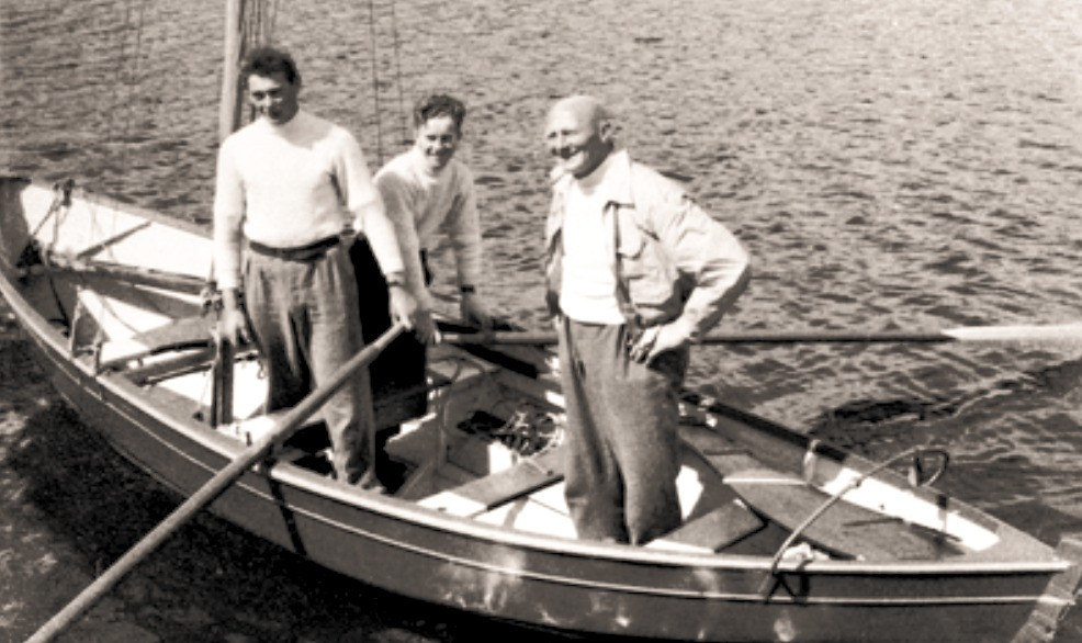 Miss Gadabout. Left to right Willie Nicolson, Norman Jamieson, John Stewart. Photo c.1946. ©Shetland Museum & Archives.
