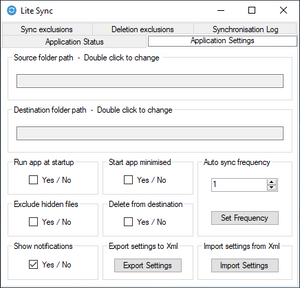 This is the settings page of lite sync's file and folder sync software.