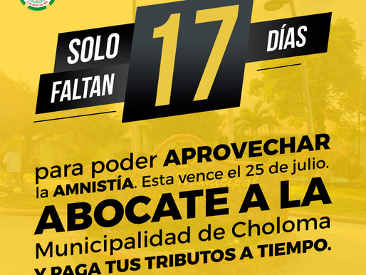 ¡Solo faltan 17 días para poder aprovechar la amnistía!