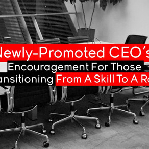 Newly-Promoted CEO's: Encouragement For Those Transitioning From A Skill To A Role