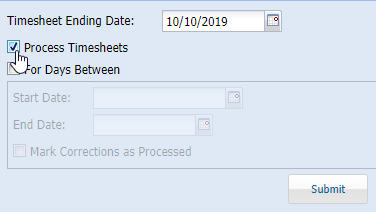 "To check or uncheck the ""Process Timesheets"" box..."